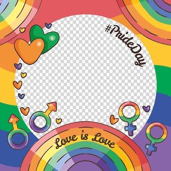 Dibujado a mano plantilla de marco de redes sociales del día del orgullo