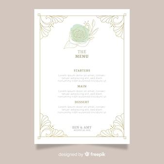 Dibujado a mano plantilla de menú de boda