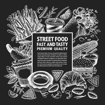 Dibujado a mano plantilla de menú de comida en la calle. ilustraciones de comida rápida de vector en pizarra. comida chatarra vintage