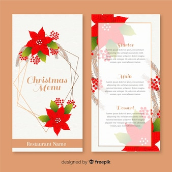 Dibujado a mano plantilla de menú de navidad con flores