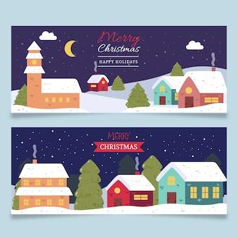 Dibujado a mano plantilla de pancartas de la ciudad de navidad