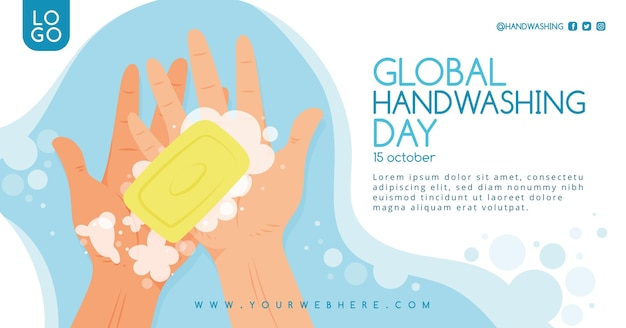 Dibujado a mano plantilla de publicación de redes sociales del día global del lavado de manos plano