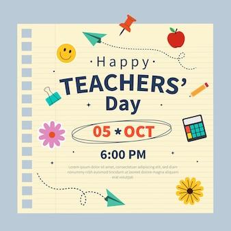 Dibujado a mano plantilla de publicación de redes sociales plana del día del maestro