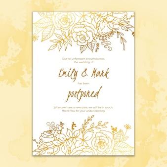 Dibujado a mano plantilla de tarjeta de boda pospuesta