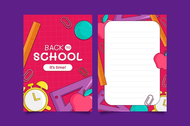 Dibujado a mano plantilla de tarjeta de regreso a la escuela