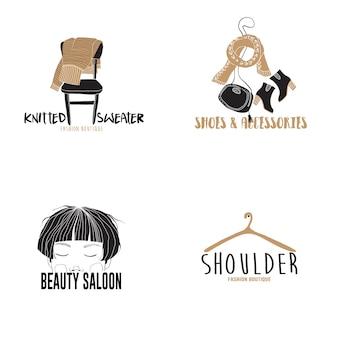 Dibujado a mano plantillas de logotipo de moda