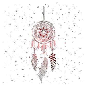 Dibujado a mano las plumas del atrapasueños con fondo