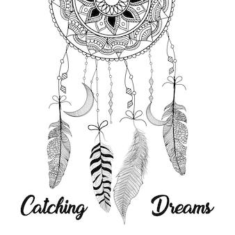 Dibujado a mano las plumas del atrapasueños