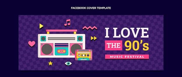 Dibujado a mano portada de facebook del festival de música de los 90