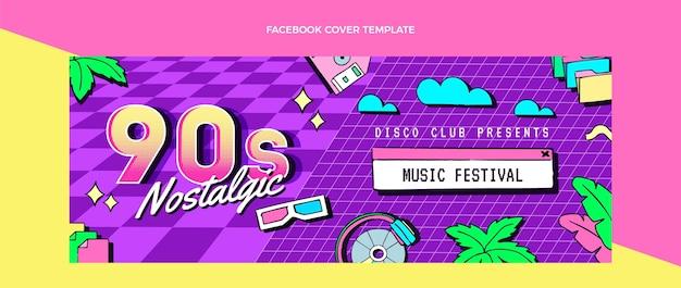 Dibujado a mano portada de facebook del festival de música nostálgica de los 90