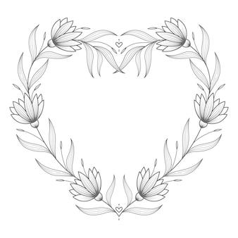 Dibujado a mano precioso corazón floral