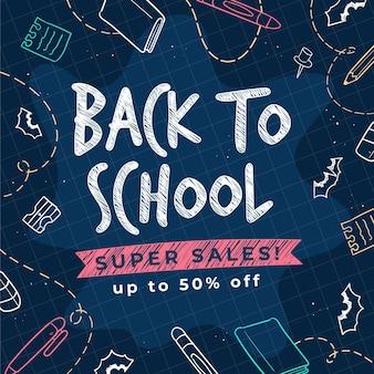 Dibujado a mano promoción de venta de regreso a la escuela