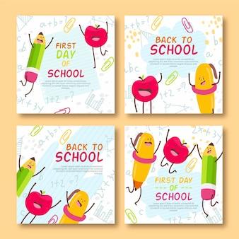 Dibujado a mano a las publicaciones de instagram de la escuela