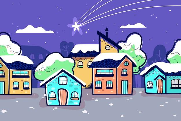 Dibujado a mano pueblo de navidad y estrella caída