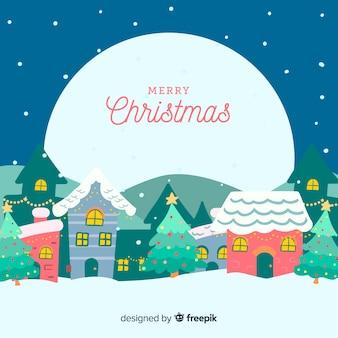 Dibujado a mano pueblo de navidad en una noche de luna llena