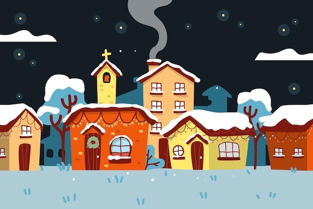 Dibujado a mano pueblo de navidad en una noche nevada