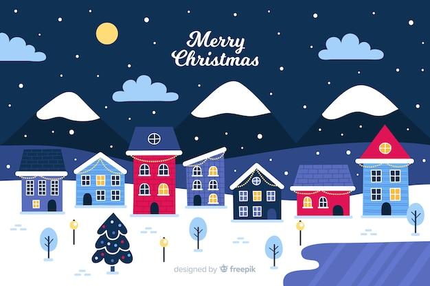 Dibujado a mano pueblo de navidad en la noche
