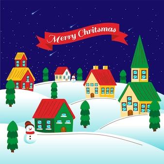 Dibujado a mano pueblo de navidad