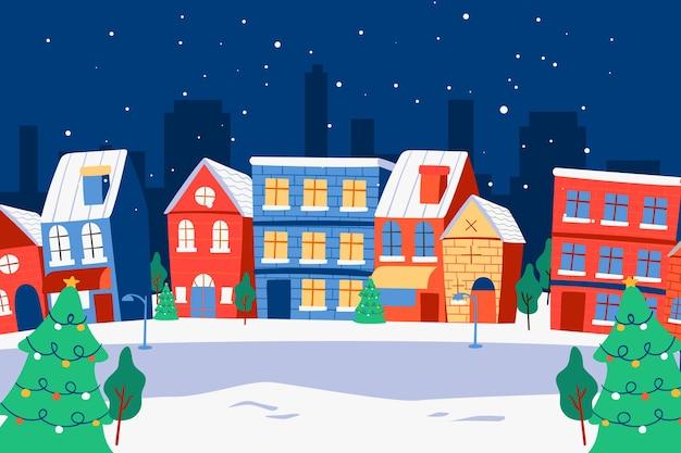 Dibujado a mano pueblo navideño