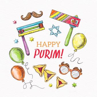 Dibujado a mano purim day con accesorios festivos
