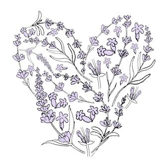 Dibujado a mano púrpura lavanda corazones de elementos de flores de lavanda