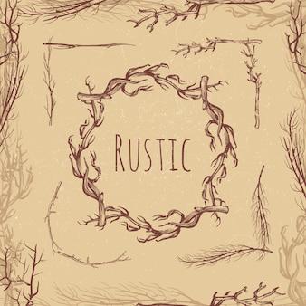 Dibujado a mano ramas rústicas estilo vintage