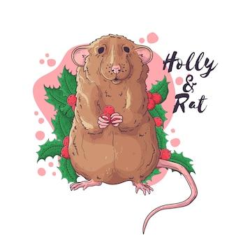 Dibujado a mano de rata en accesorios navideños