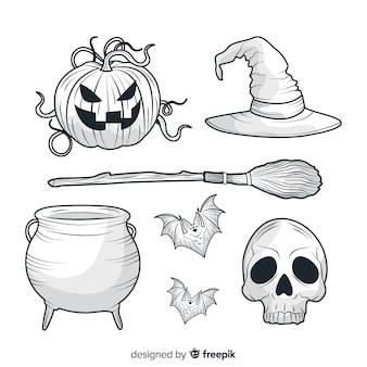 Dibujado a mano realista colección de elementos de halloween