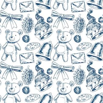 Dibujado a mano realista patrón de navidad