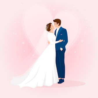 Dibujado a mano recién casados con corazón