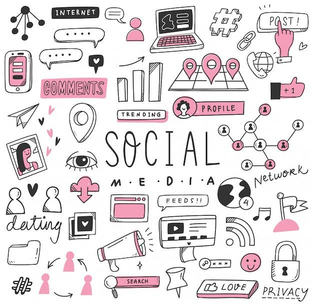Dibujado a mano redes sociales doodle conjunto