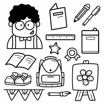 Dibujado a mano de regreso a la escuela para colorear dibujos animados diseño de doodle