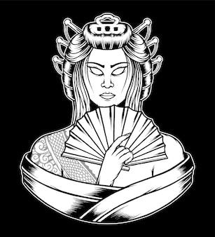 Dibujado a mano reina de la ilustración de geisha. vector premium