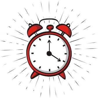 Dibujado a mano reloj despertador aislado sobre fondo de rayos