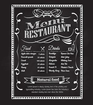 Dibujado a mano restaurante menú pizarra vintage marco etiqueta