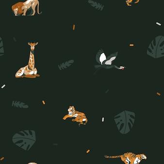 Dibujado a mano resumen de dibujos animados gráfico moderno safari africano naturaleza ilustraciones arte collage de patrones sin fisuras con tigres, leones, pájaros grulla y hojas de palmeras tropicales aisladas sobre fondo negro