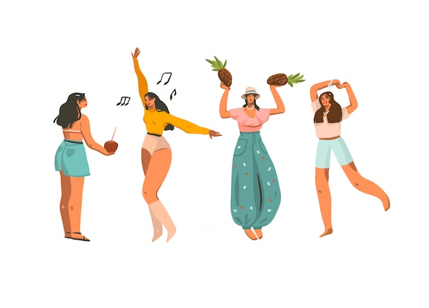 Dibujado a mano resumen gráfico stock ilustraciones de verano conjunto de colección con jóvenes hembras sonrientes divertirse sobre fondo blanco