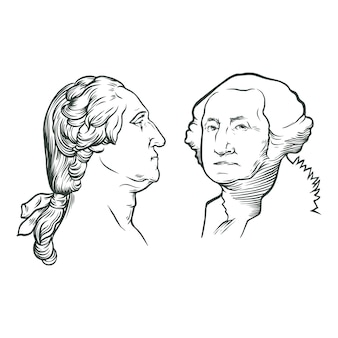Dibujado a mano retrato de george washington