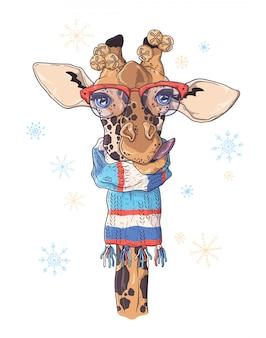Dibujado a mano retrato de jirafa en accesorios de navidad.