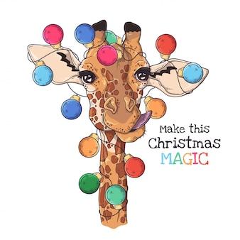 Dibujado a mano retrato de jirafa en accesorios de navidad