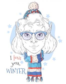 Dibujado a mano retrato de niña elfo con símbolos de navidad vector.
