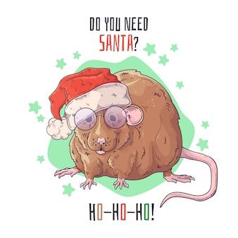 Dibujado a mano retrato de rata en accesorios de navidad.