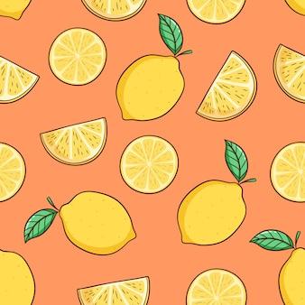 Dibujado a mano rodaja de limón con hojas para el tema del verano en patrones sin fisuras