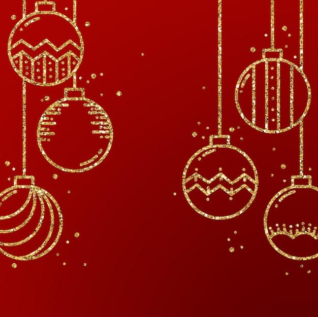 Dibujado a mano rojo y oro adornos de navidad de fondo