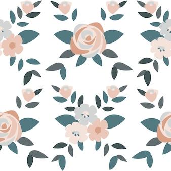 Dibujado a mano rosas y plantas de ilustración
