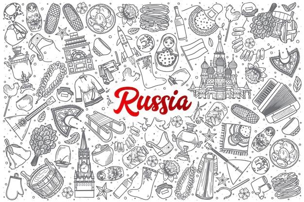 Dibujado a mano rusia doodle establece fondo con letras rojas