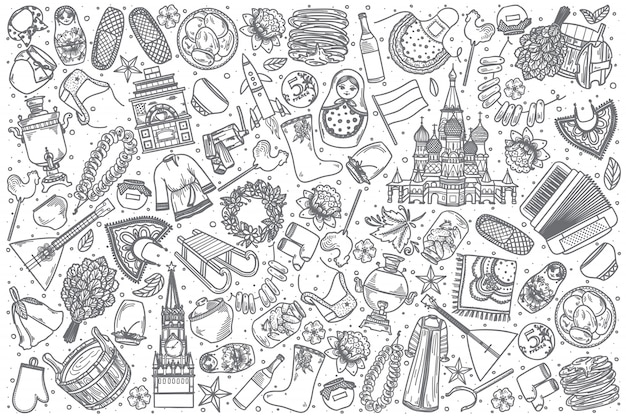 Dibujado a mano rusia doodle set