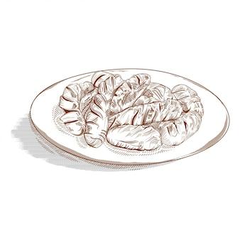 Dibujado a mano de salchichas en el plato blanco.