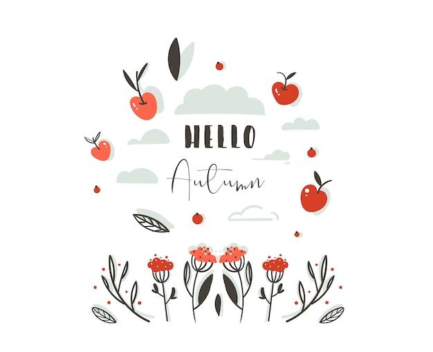 Dibujado a mano saludo abstracto dibujos animados otoño encabezado de decoración gráfica con conjunto de bayas, hojas, ramas, cosecha de manzana y fase de tipografía moderna hola otoño aislado sobre fondo blanco.