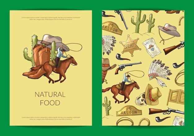 Dibujado a mano salvaje oeste vaquero elementos tarjeta o plantilla de volante